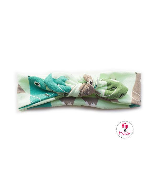 Baby-knoop-haarbandje-mint-met-beertjes