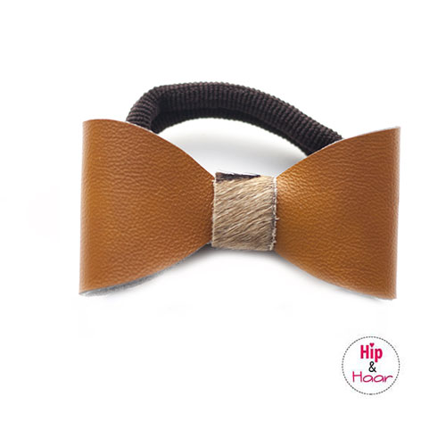 Leren-strik-elastiek-oker-bruin
