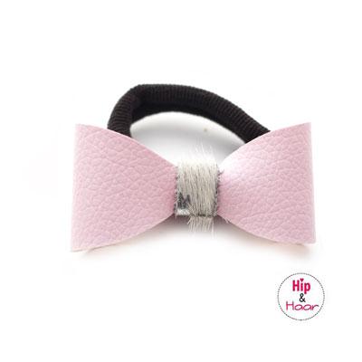 Leren-strik-elastiek-roze