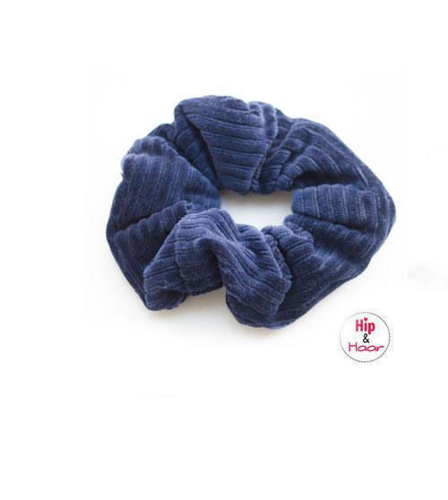 Ribstof-scrunchie-donker-blauw