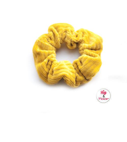 Ribstof-scrunchie-okergeel