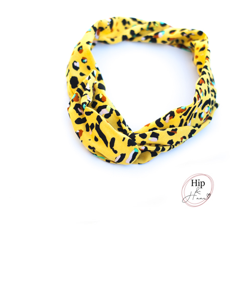 Bandeau-haarband--stoer-geel-met-print