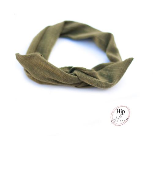 Bandeau-haarband-linnen-army-groen