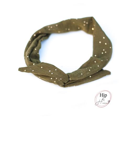 Bandeau-ijzerdraad-haarband-army-groen-met-gouden-dots