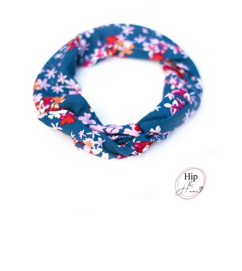 Bandeau-ijzerdraad-haarband-blauw-met-bloemen