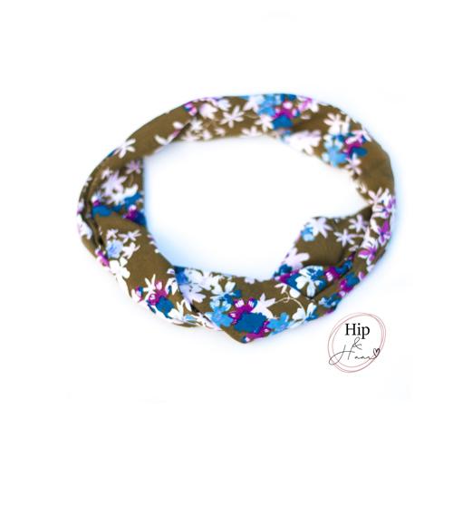 Bandeau-ijzerdraad-haarband-groen-met-bloemen