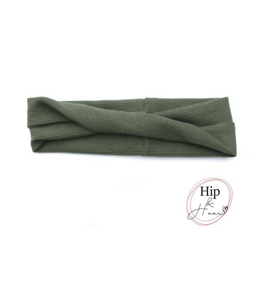 Twist-bandeau-haarband-rib-army-groen