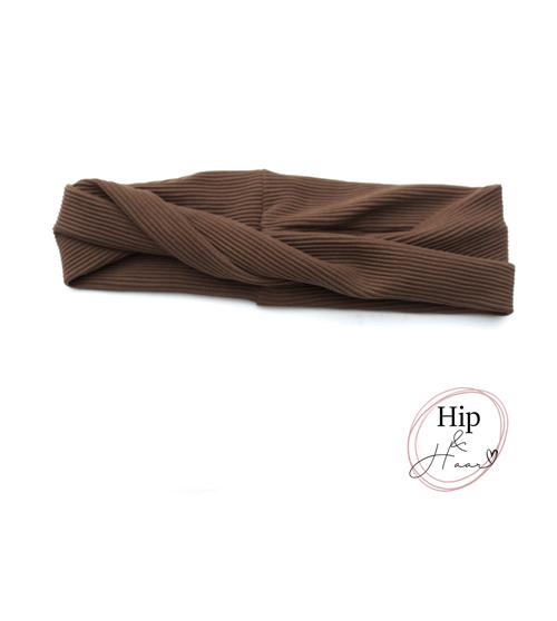 Twist-bandeau-haarband-rib-donker-bruin