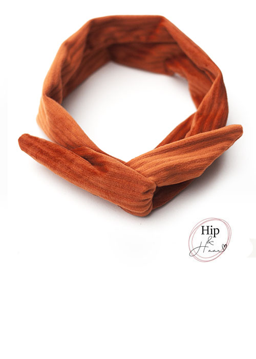 Draad-Haarband-Oranje-Brique-velours-rib