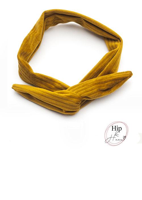 Draad-haarband-rib-velours-Mosterd