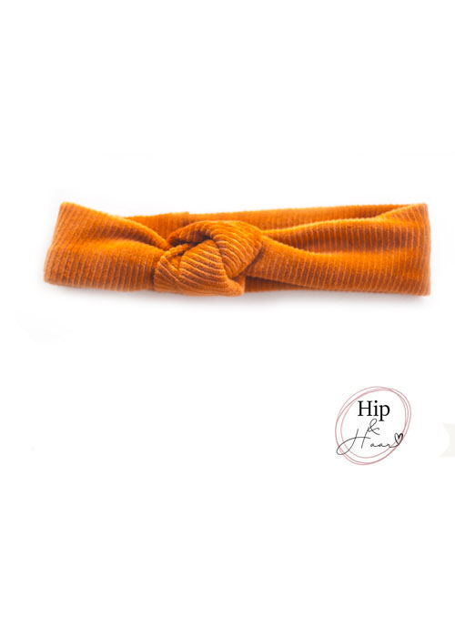 Knoop-haarband-rib-Oranje-brique