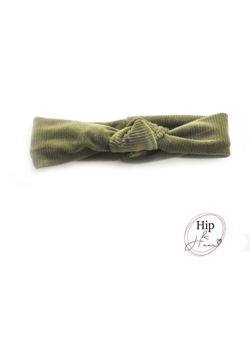 Knoop-haarband-rib-army-groen