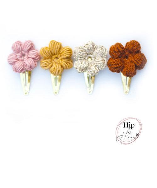 Puffy-gehaakte-bloemen-haarspelden-set