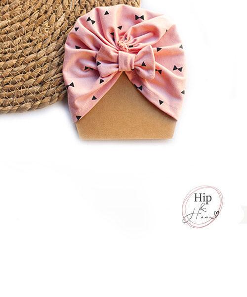 Turban-baby-mutsje-roze-bow